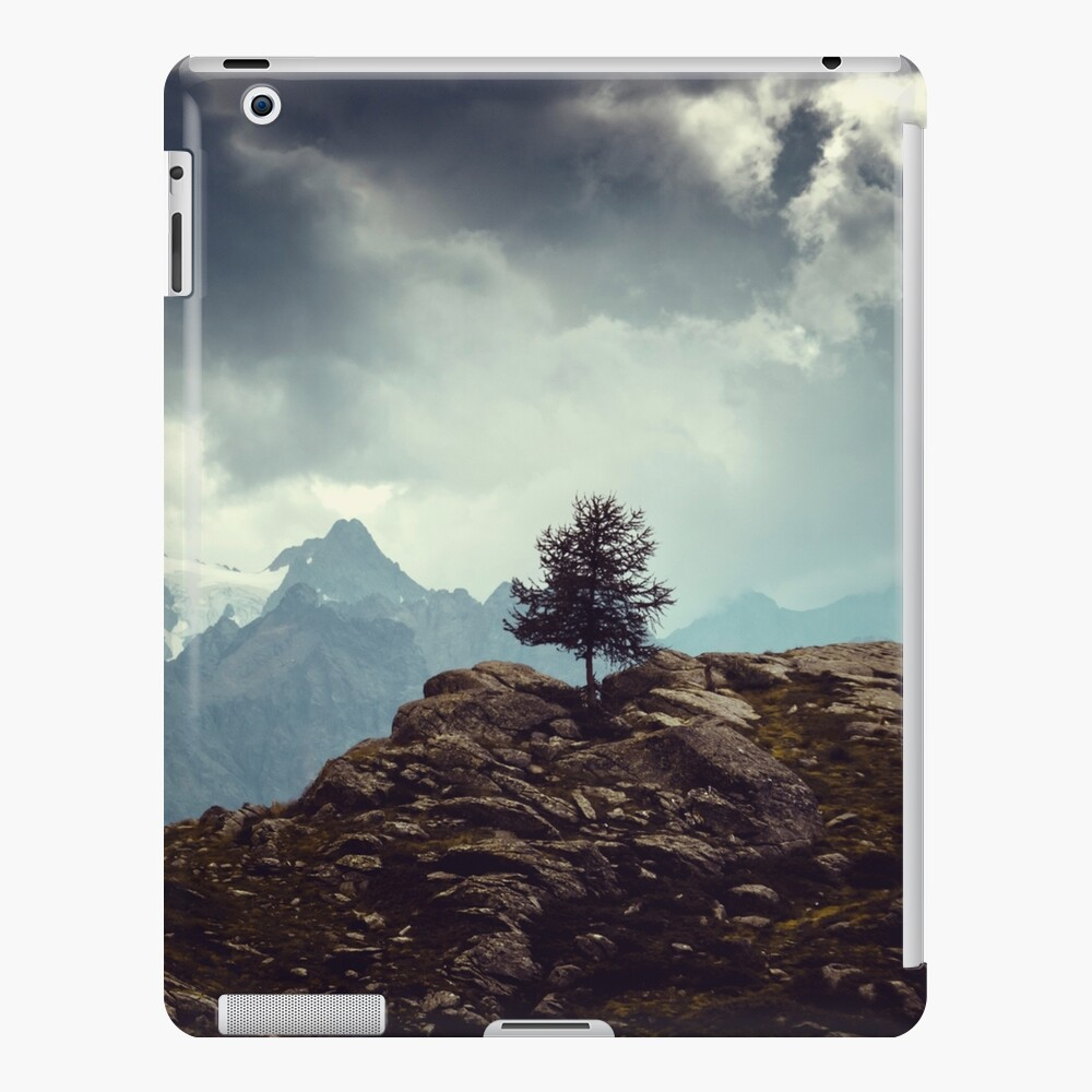 Majestic Mountains and a lone tree iPad Case & Skin