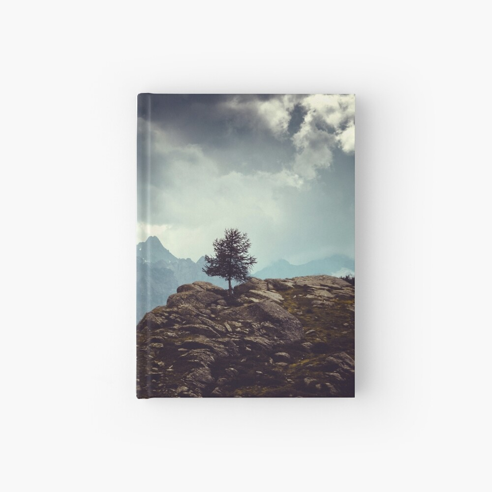 Majestic Mountains and a lone tree Hardcover Journal
