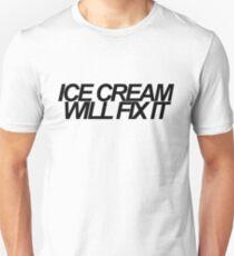 Ice Cream Will Fix It- Black Unisex T-Shirt