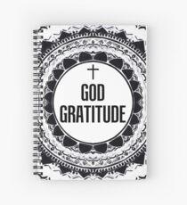 Black & White 'God Gratitude' Mandala  Spiral Notebook