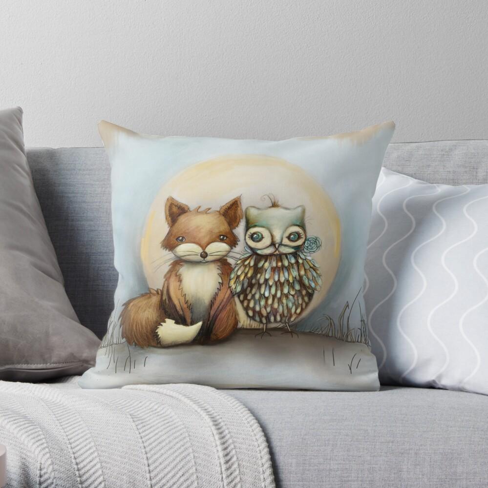 fox and owl Throw Pillow