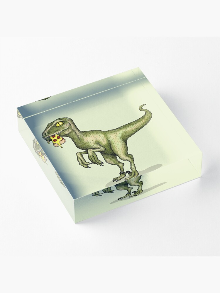 Alternate view of Raptor eating pizza Acrylic Block