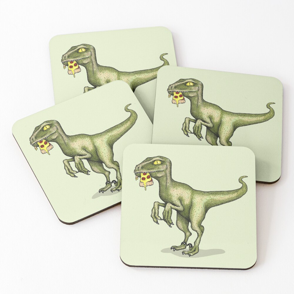 Raptor eating pizza Coasters (Set of 4)