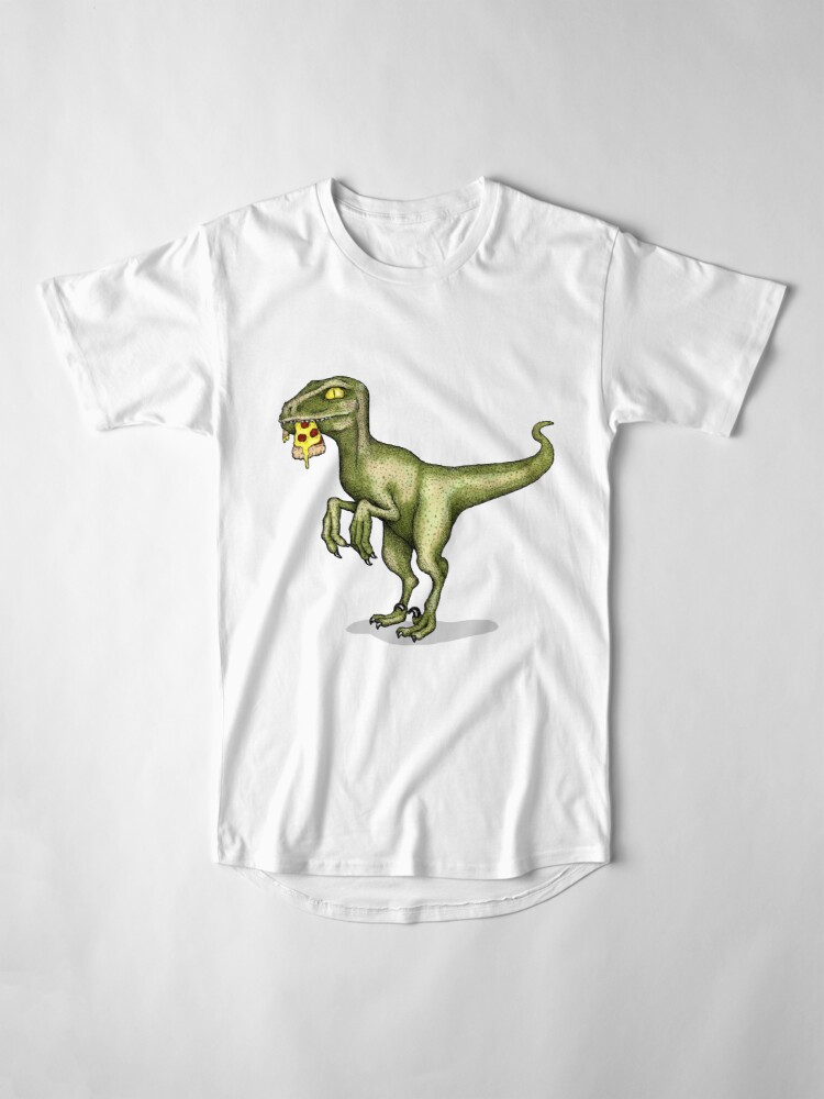 Alternate view of Raptor eating pizza Long T-Shirt