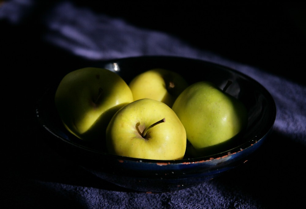 Green apples blue bowl by Paul Pasco