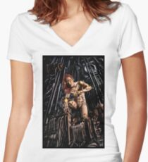 Cyberpunk Painting 063 Women's Fitted V-Neck T-Shirt