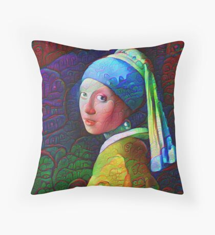 """DeepDreamed """"Girl with a Pearl Earring"""" Throw Pillow"""