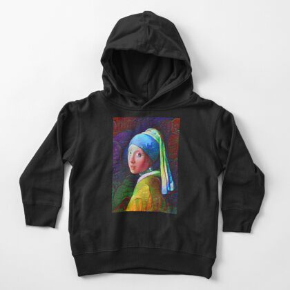 "DeepDreamed ""Girl with a Pearl Earring"" Toddler Pullover Hoodie"