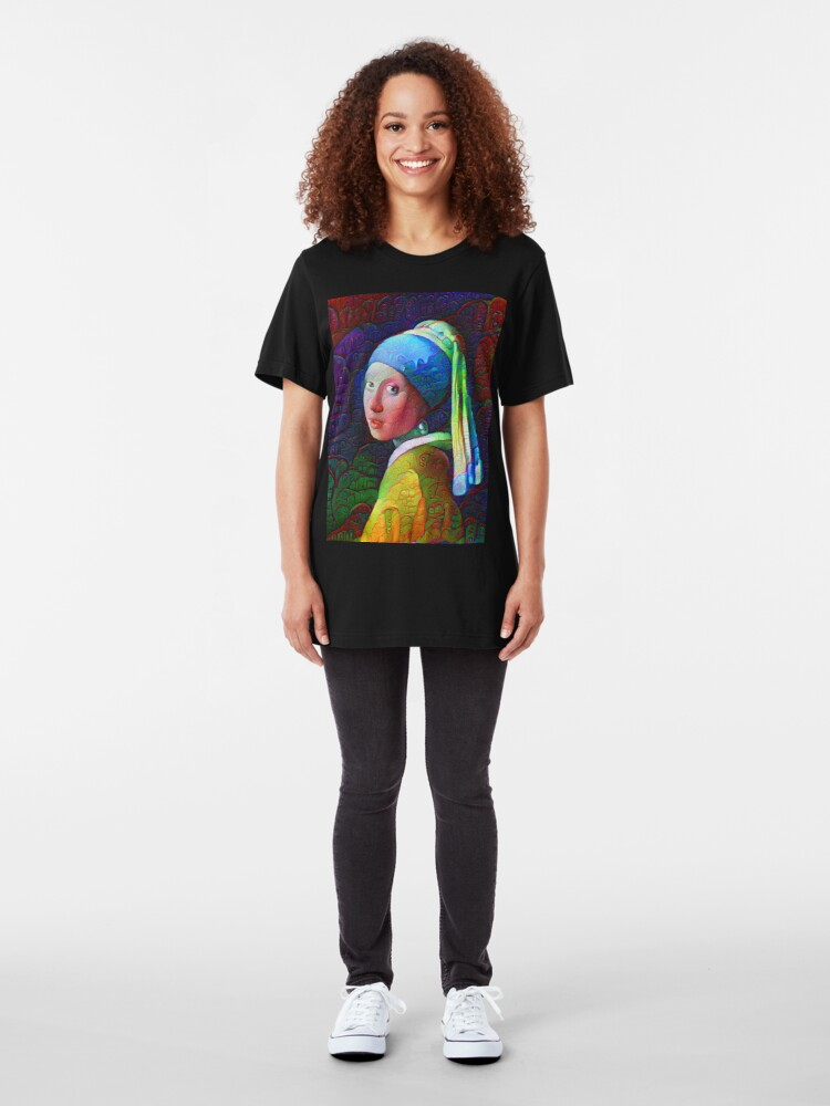 """Alternate view of DeepDreamed """"Girl with a Pearl Earring"""" Slim Fit T-Shirt"""