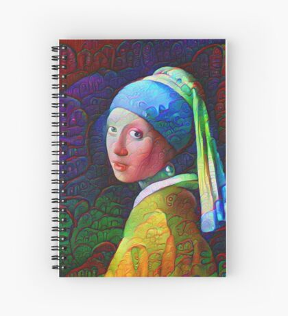 """DeepDreamed """"Girl with a Pearl Earring"""" Spiral Notebook"""
