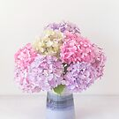 Hydrangea bouquet in pretty pastel shades of pink and purple by Zoe Power