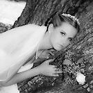 Bride Portrait Black White by Leta Davenport