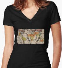 Travel The World With A Camera Women's Fitted V-Neck T-Shirt