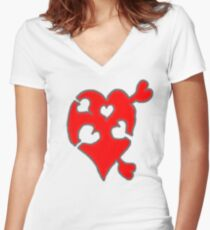 A LOVE puzzle piece Women's Fitted V-Neck T-Shirt