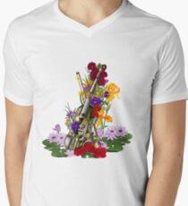 Alte rostige Steampunk Geige umgeben von Blumen - Kontrastreich T-Shirt mit V-Ausschnitt