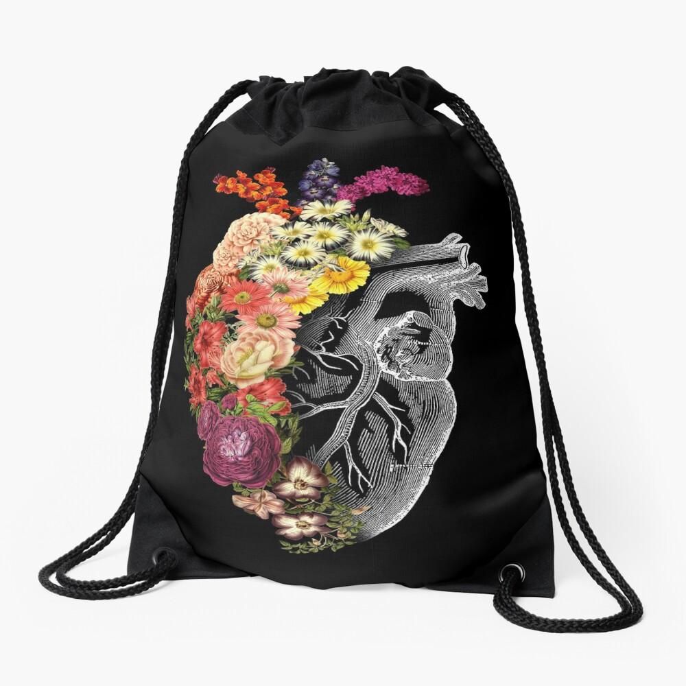 Flower Heart Spring Drawstring Bag