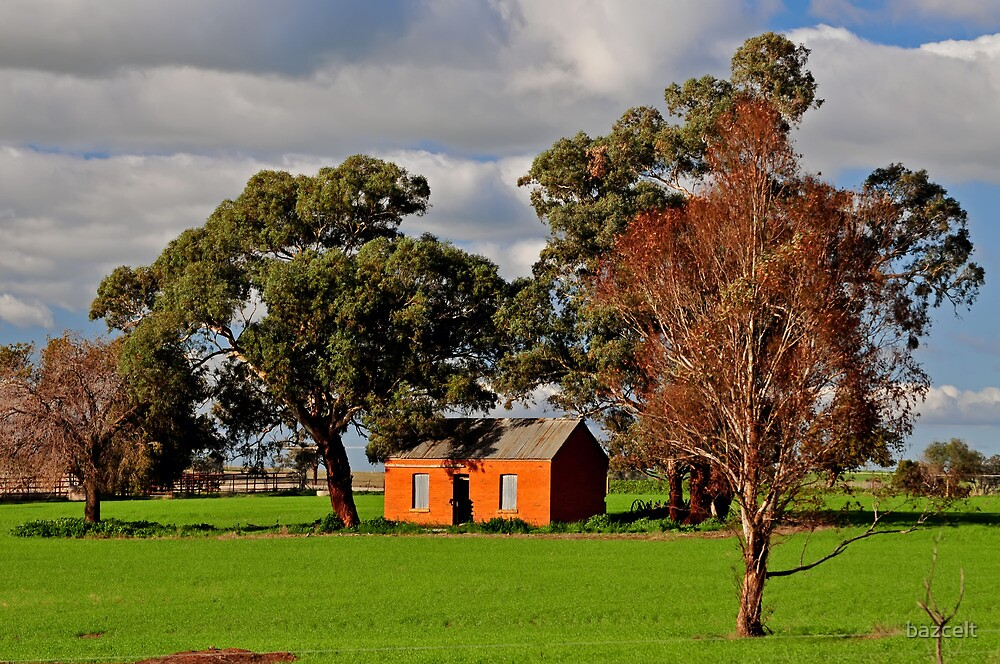 Green Fields, Red Ruin amongst the Gum Trees by bazcelt