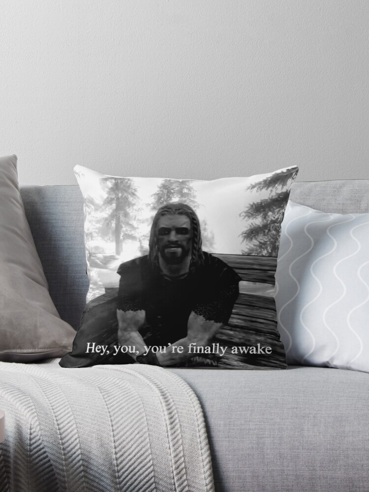 Quot Youre Finally Awake Skyrim Quot Throw Pillow By Impulsee