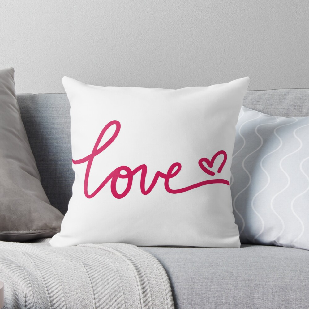 Love Calligraphy Throw Pillow