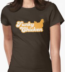 FUNKY CHICKEN with a hen chicken chook  Womens Fitted T-Shirt