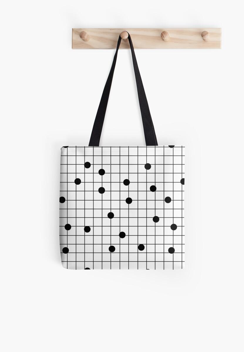Art Bag Nyc Dot Grid Map Art Print Black And White Minimal Modern Pop Trendy