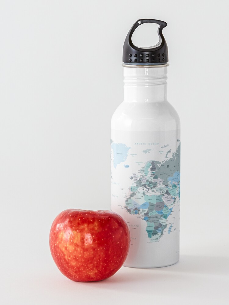 Alternate view of Adventure Awaits World Map in Teal Water Bottle