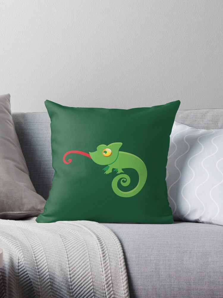 Green cute CHAMELEON with tongue licking by jazzydevil