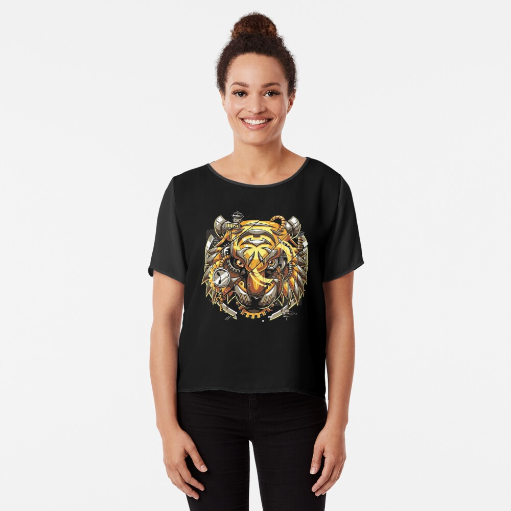 Digitalized Tiger Chiffon Top