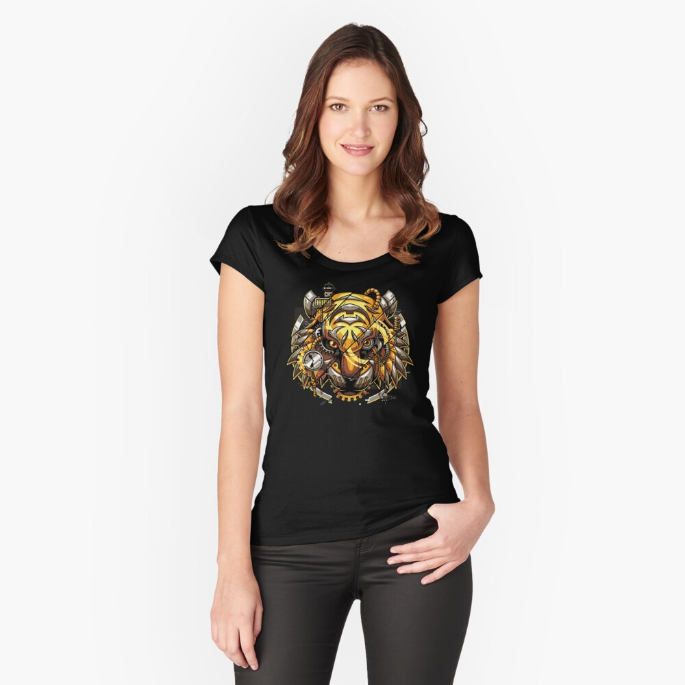 Digitalized Tiger Fitted Scoop T-Shirt