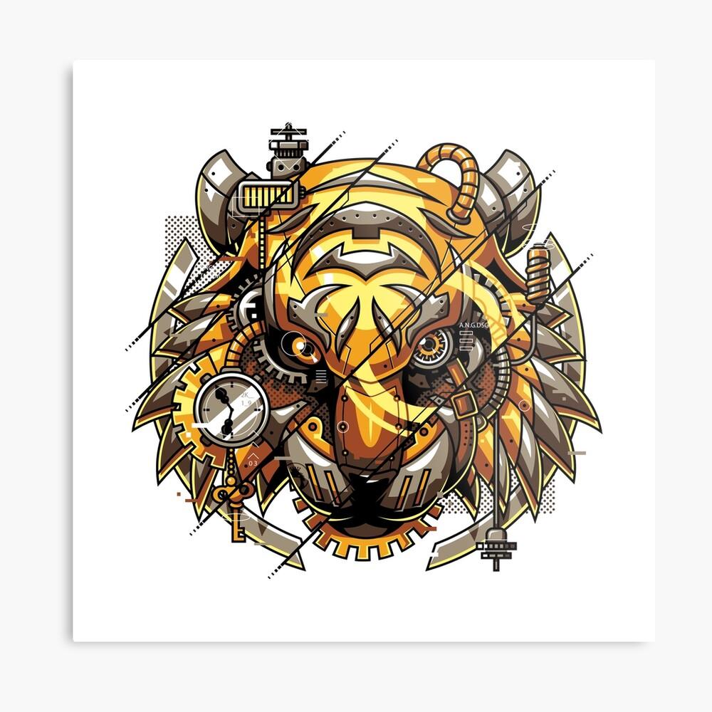 Digitalized Tiger Metal Print