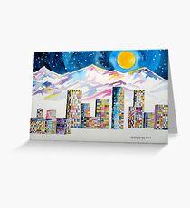 Denver Skyline....Christmas storm Greeting Card