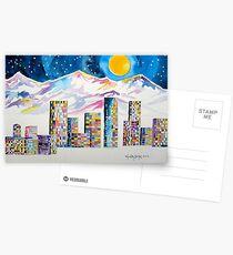 Denver Skyline....Christmas storm Postcards