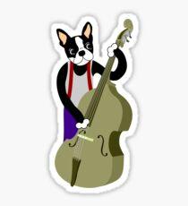 Boston Terrier Upright  Bass Player Sticker