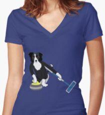 Border Collie Curling Shirt mit V-Ausschnitt
