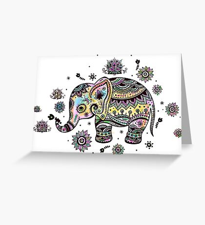 Cute Colorful Floral Baby Elephant Greeting Card
