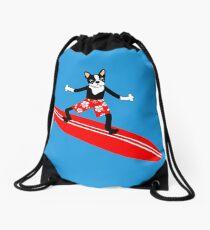 Boston Terrier Surfer Drawstring Bag