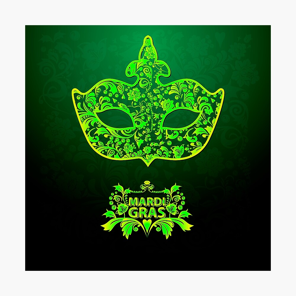Trendy Green and Gold Cool Mardi Gras Photographic Print