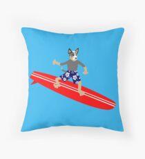 Australian Cattle Dog Surfer Throw Pillow