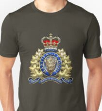 Royal Canadian Mounted Police - RCMP Badge over Waving Flag T-Shirt