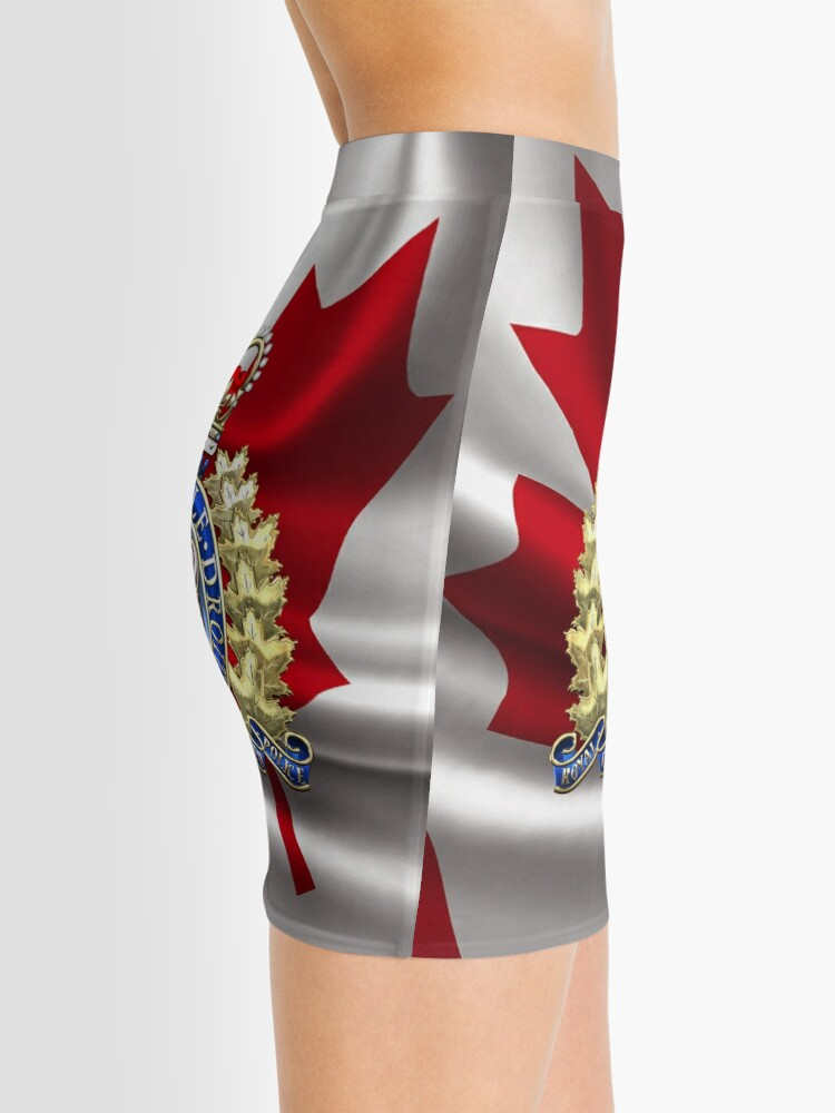 1be880e4d Alternate view of Royal Canadian Mounted Police - RCMP Badge over Waving  Flag Mini Skirt