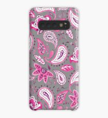 Watercolor Pink Floral Paisley - Gray Case/Skin for Samsung Galaxy