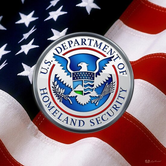 Us Department Of Homeland Security Dhs Emblem Over American Flag