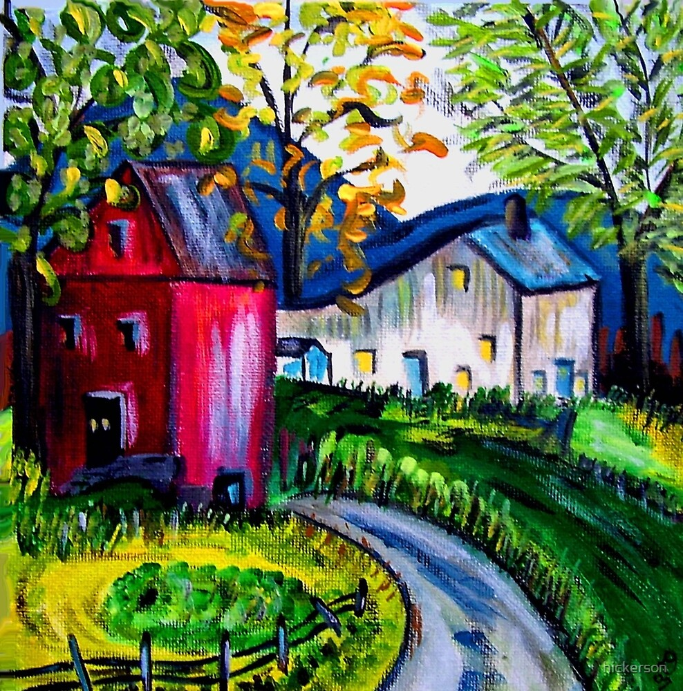 September Red Barn Landscape by hickerson