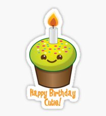 Happy Birthday Cutie with cute little cupcake Kawaii smiling Sticker