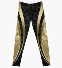 Black And Gold Damasks And geometric Stripes Leggings