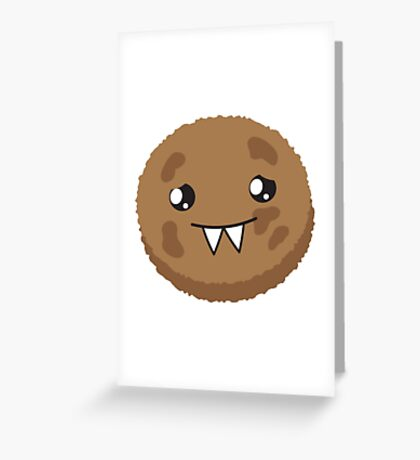 cute kawaii cookie monster face Greeting Card