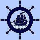 Navy Blue nautical Boat Wheel Illustration by artonwear