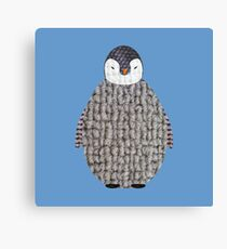 Cute Baby Penguin Fabric Collage Canvas Print