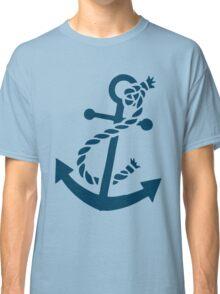 Navy Blue Nautical Boat Anchor Illustration Classic T-Shirt