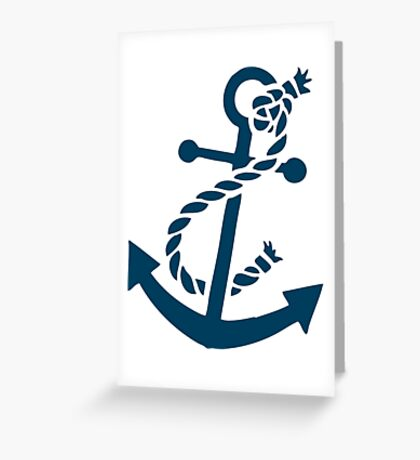 Navy Blue Nautical Boat Anchor Illustration Greeting Card